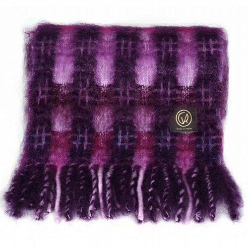 Mohair Scarf - Purple / Magenta Check